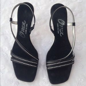 Onex Rhinestone Kitten Heel Sandals