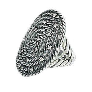 David Yurman Silver Coil Ring with diamonds NWT