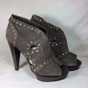 Steve Madden Gray Suede Studded Open Toe Booties