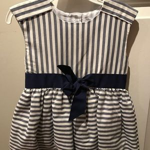 Carters 2t blue/white striped dress with navy bow