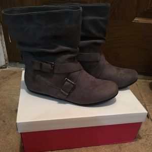 Grey ankle boots from Just Fab