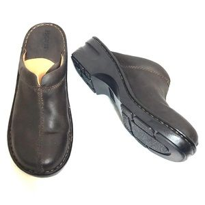 Born Dark Brown Leather Clogs
