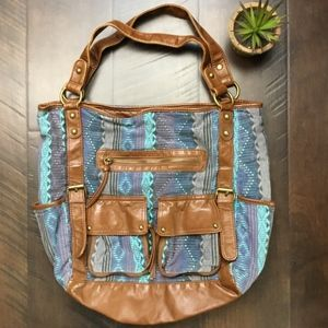 Handbags - Aztec Canvas and Vegan Leather Pocketed Tote