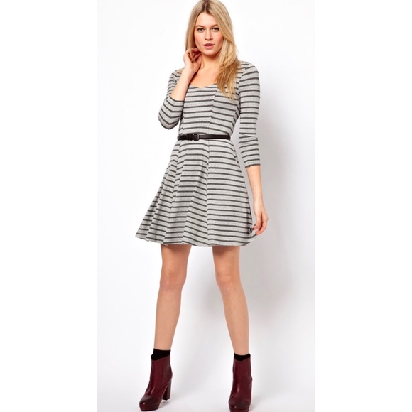 74646d18d4 ASOS Gray Striped Skater Dress