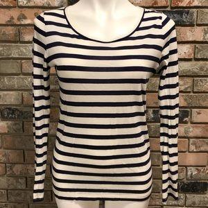 LOFT Striped Long Sleeve Scoop Neck Shirt sz. M