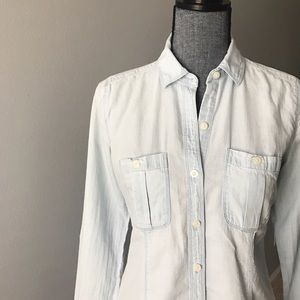 LOFT Chambray Button-Up Top