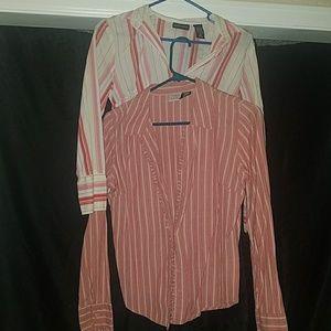 2 Coral Button Up Collard Shirts