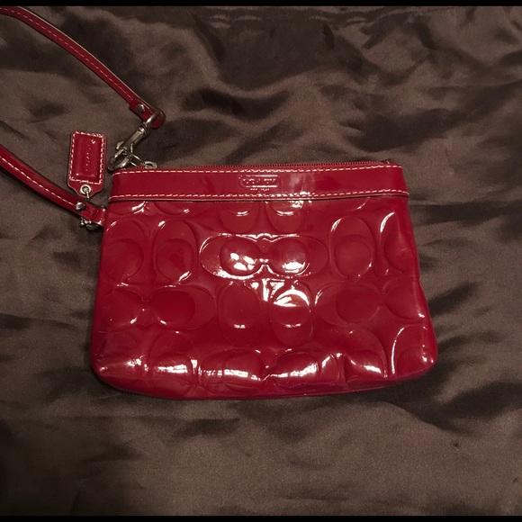 Coach Handbags - COACH cranberry/red wristlet! Like new!