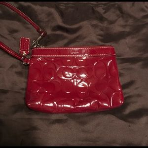 COACH cranberry/red wristlet! Like new!