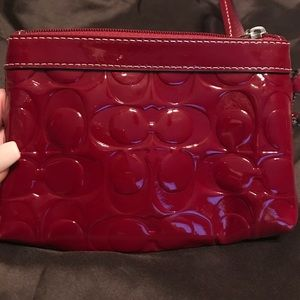 Coach Bags - COACH cranberry/red wristlet! Like new!