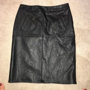 Cabi Black Leather Skirt