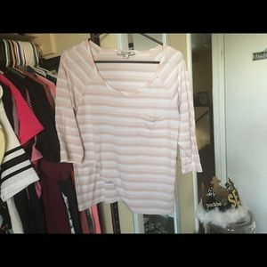 Forever 21 striped Light pink and white shirt