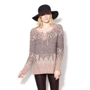 NWT Free People Love Bug Yarn Pullover Cream Gray