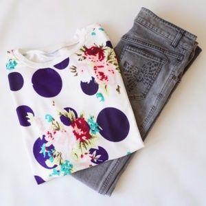 Sweaters - Polka Dots & Flowers Lightweight Sweater