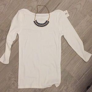 NWT - White boatneck 3/4 sleeve cotton shirt