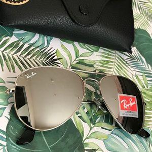 All silver mirrored Rayban aviator sunglasses