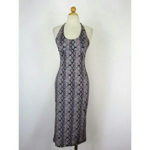 Arden B Snakeskin Print Pencil Halter Dress S