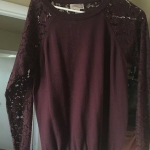 Flower maroon lace shirt