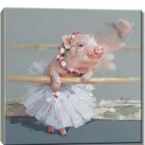 Piggie ballet tutu canvas oil painting