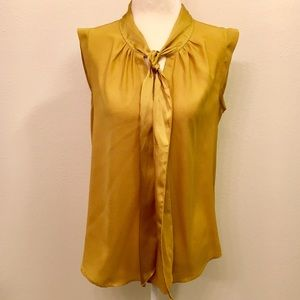 Loft Silk Tie Sleeveless Blouse Mustard Color