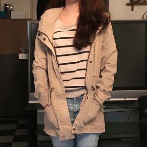 Khaki colored hooded jacket