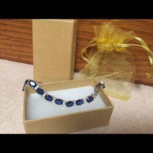 GENUINE BLUE SAPPHIRE AND DIAMONIQUE WGP BRACELET