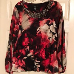 Alfani Floral Blouse with beaded neck- XL