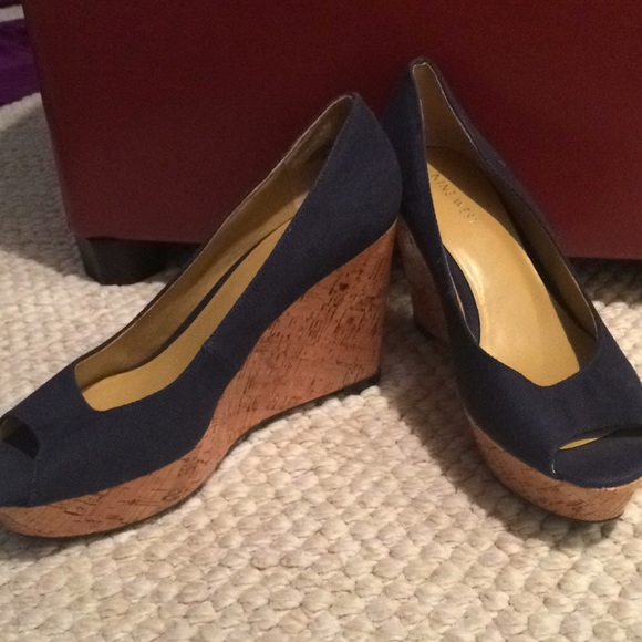 6fa35c8871d Nine west shoes navy open toe canvas wedges poshmark jpg 580x580 Navy  canvas wedges