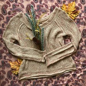 -Free People-Knit Pink/Tan Sweater-Size: Medium-