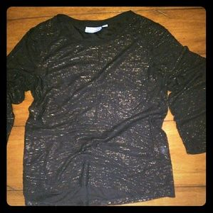 Black and gold long sleeve shimmer top
