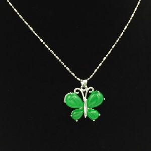 Sterling Silver Butterfly Jade Necklace