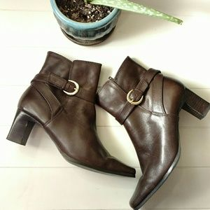 Nine West Booties Brown Leather Sz 7