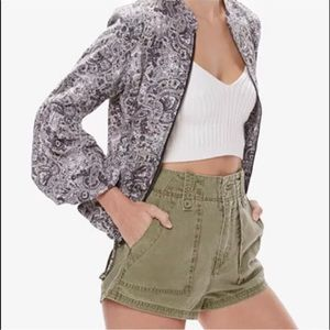 Free People Green High Waisted Military Shorts