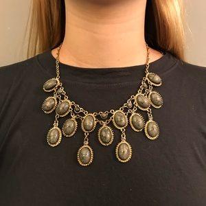 Dark gray chandelier statement necklace