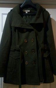Mid length green pea coat