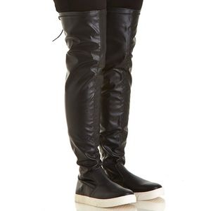 Shoes - Womens Faux Leather Over-The-Knee Athleisure Boots
