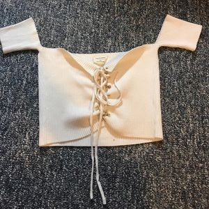 Off White Sweater Crop Top