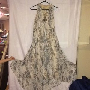 Chico's long summer dress with matching earrings.