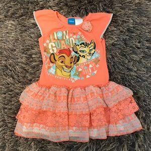 Disney Lion Guard Orange Tiered Girls 4T Dress