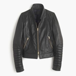 J.Crew Collection standing-collar leather jacket