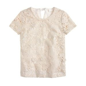 J. Crew Collection Guipure Lace Top Cream size 4