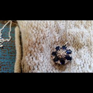 Jewelry - Blue & Silver Geometric Necklace