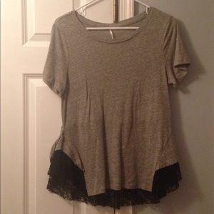 FP black lace gray tshirt