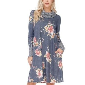Blue and Pink Floral Cowl Neck Dress