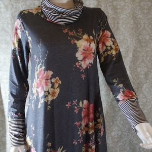 7th Ray Dresses - Blue and Pink Floral Cowl Neck Dress