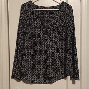 Black and White Patterned Blouse
