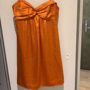 BCBG orange strapless satin cocktail dress w/ bow