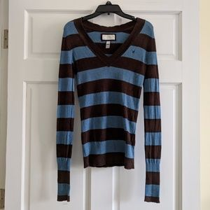 American Eagle Blue/Brown Striped V-Neck Sweater
