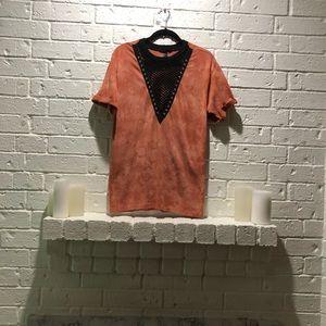 Orange tie dye mesh panel T-shirt