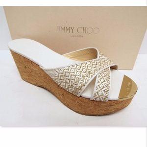 New JIMMY CHOO Size 38 Logo Toe Platform Sandals